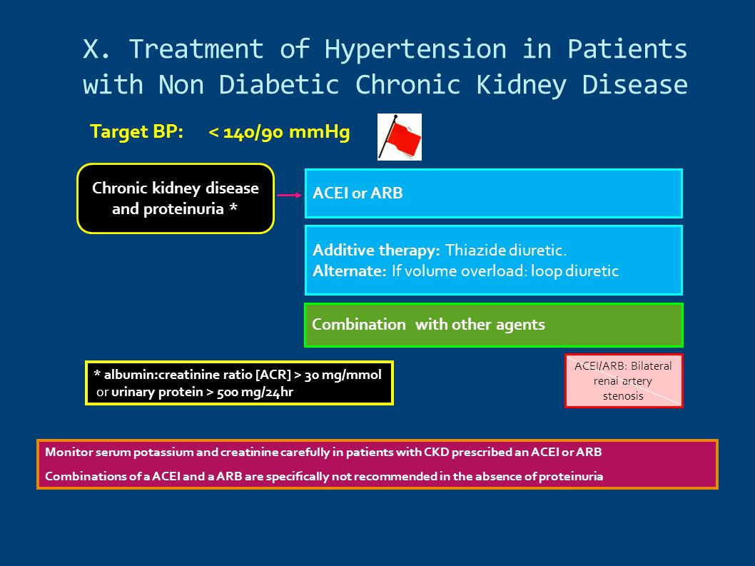 X. Treatment of Hypertension in Patients with Non Diabetic Chronic Kidney Disease Chronic kidney disease and proteinuria * ACEI/ARB: Bilateral renal a