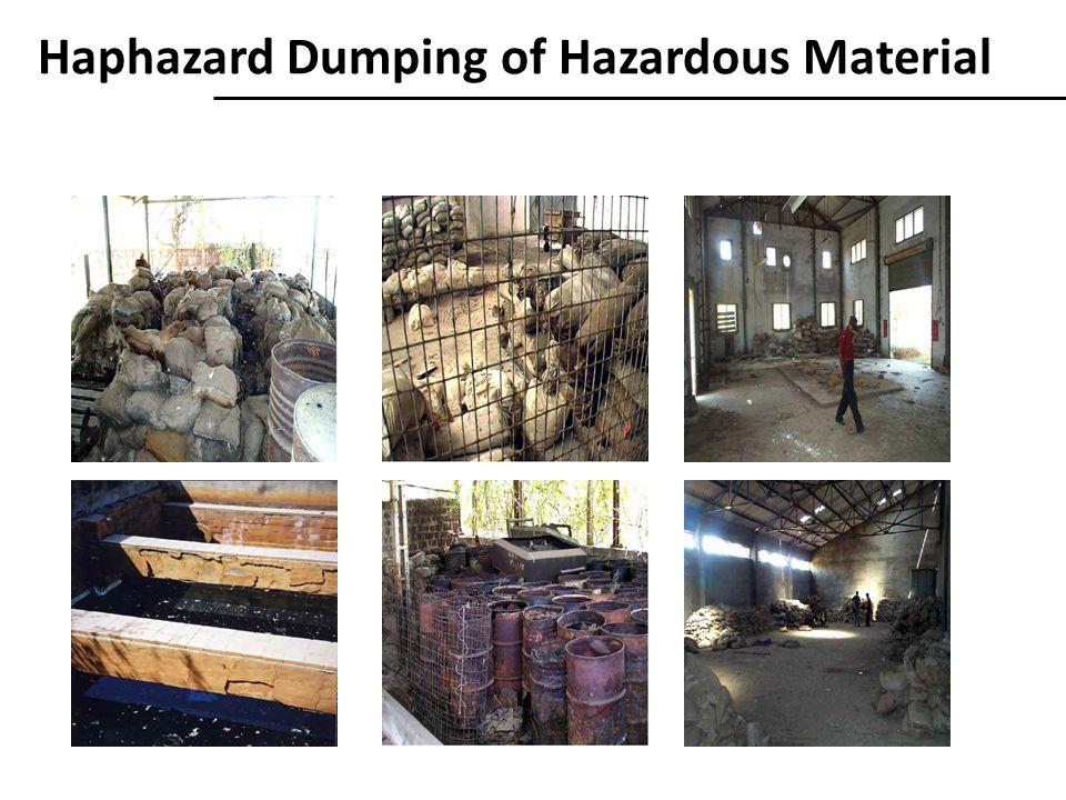 Haphazard Dumping of Hazardous Material