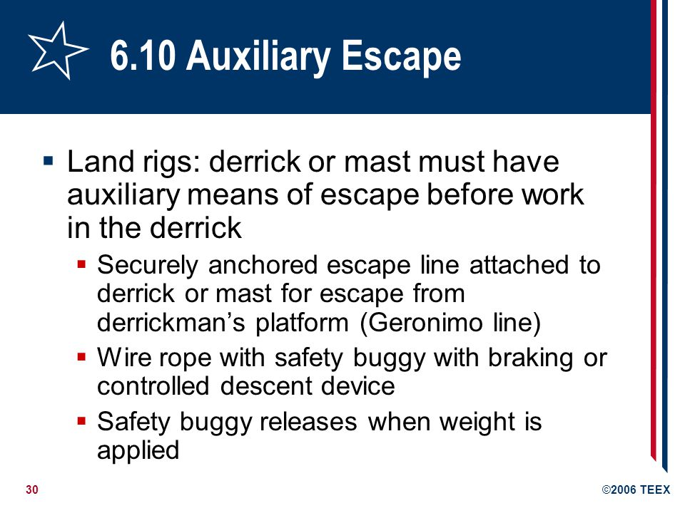30©2006 TEEX 6.10 Auxiliary Escape  Land rigs: derrick or mast must have auxiliary means of escape before work in the derrick  Securely anchored escape line attached to derrick or mast for escape from derrickman's platform (Geronimo line)  Wire rope with safety buggy with braking or controlled descent device  Safety buggy releases when weight is applied