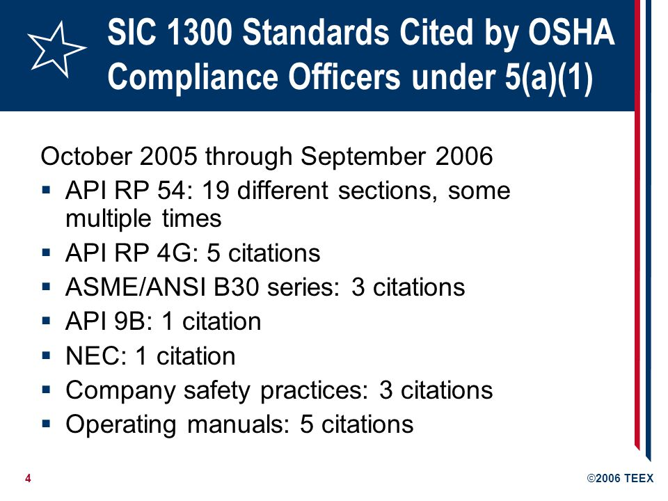4©2006 TEEX SIC 1300 Standards Cited by OSHA Compliance Officers under 5(a)(1) October 2005 through September 2006  API RP 54: 19 different sections, some multiple times  API RP 4G: 5 citations  ASME/ANSI B30 series: 3 citations  API 9B: 1 citation  NEC: 1 citation  Company safety practices: 3 citations  Operating manuals: 5 citations