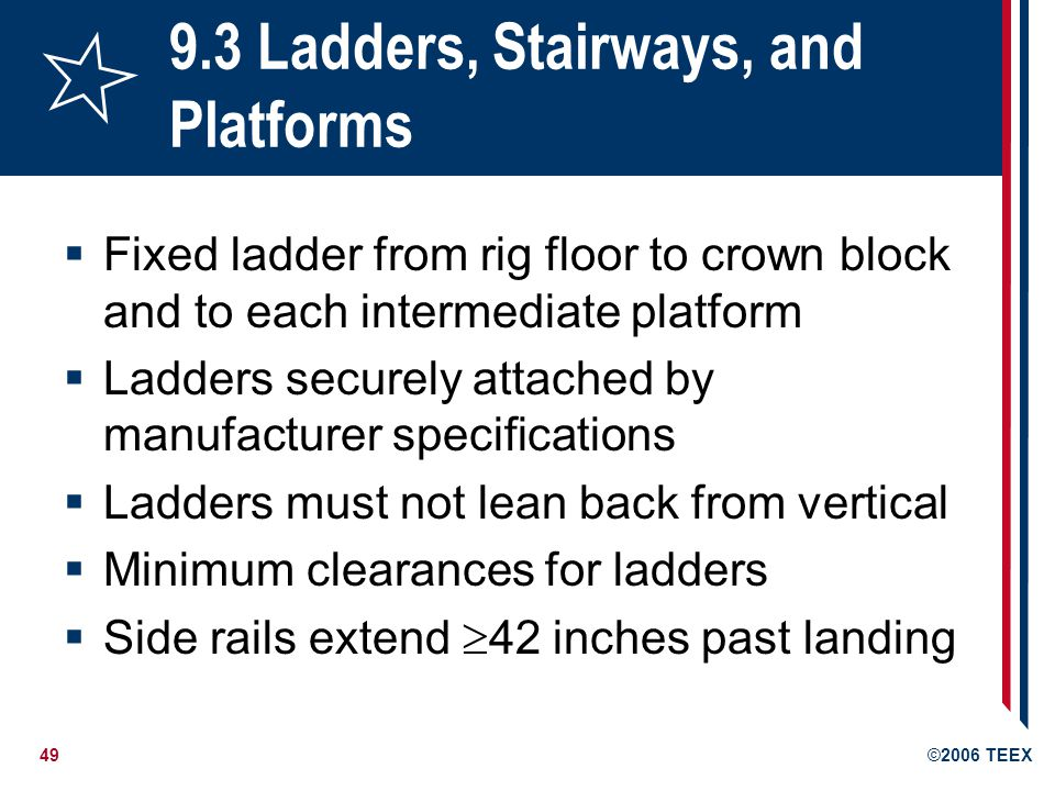 49©2006 TEEX 9.3 Ladders, Stairways, and Platforms  Fixed ladder from rig floor to crown block and to each intermediate platform  Ladders securely attached by manufacturer specifications  Ladders must not lean back from vertical  Minimum clearances for ladders  Side rails extend  42 inches past landing