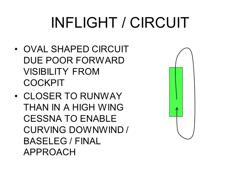 INFLIGHT / CIRCUIT OVAL SHAPED CIRCUIT DUE POOR FORWARD VISIBILITY FROM COCKPIT CLOSER TO RUNWAY THAN IN A HIGH WING CESSNA TO ENABLE CURVING DOWNWIND