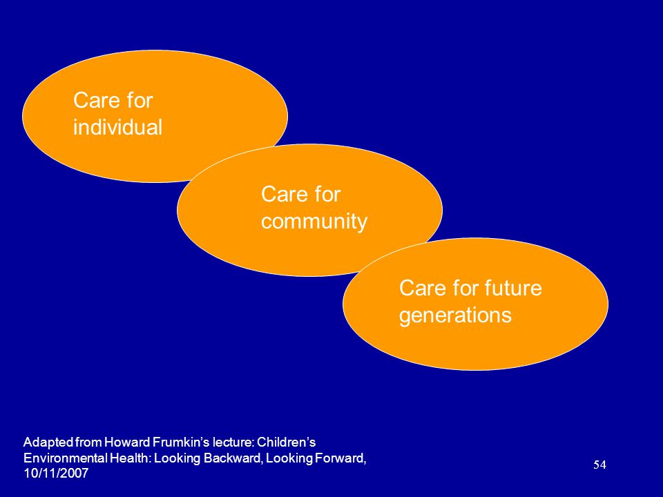 54 Care for individual Care for community Care for future generations Adapted from Howard Frumkin's lecture: Children's Environmental Health: Looking Backward, Looking Forward, 10/11/2007