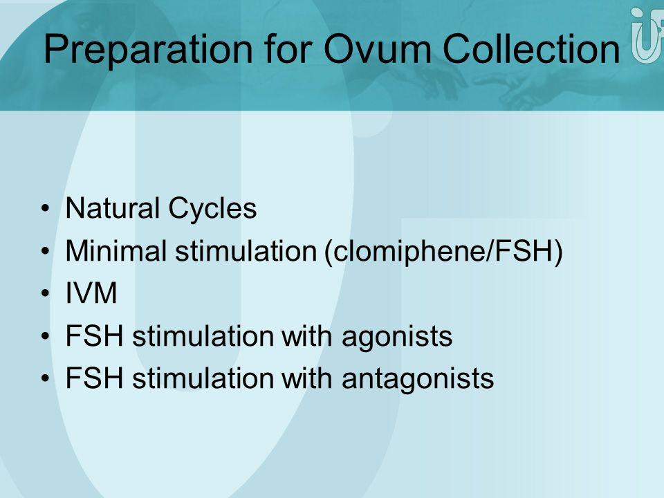 Preparation for Ovum Collection Natural Cycles Minimal stimulation (clomiphene/FSH) IVM FSH stimulation with agonists FSH stimulation with antagonists