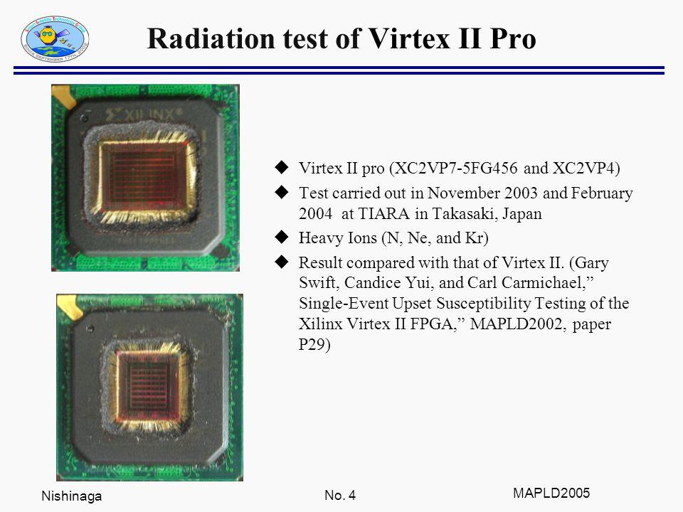 Nishinaga No. 4 MAPLD2005 Radiation test of Virtex II Pro  Virtex II pro (XC2VP7-5FG456 and XC2VP4)  Test carried out in November 2003 and February