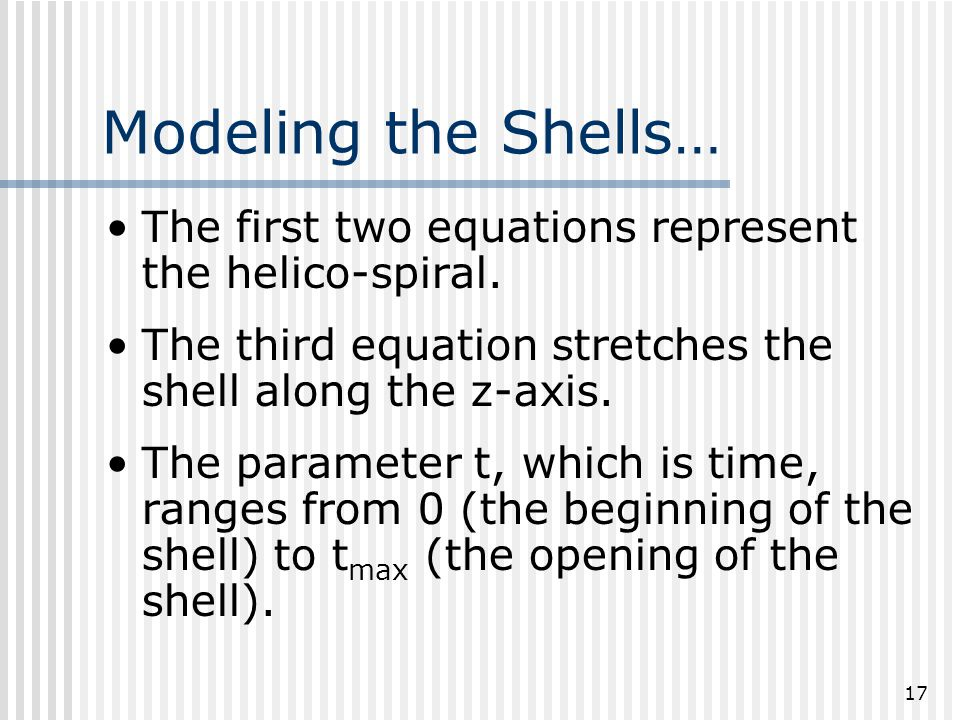 17 Modeling the Shells… The first two equations represent the helico-spiral.
