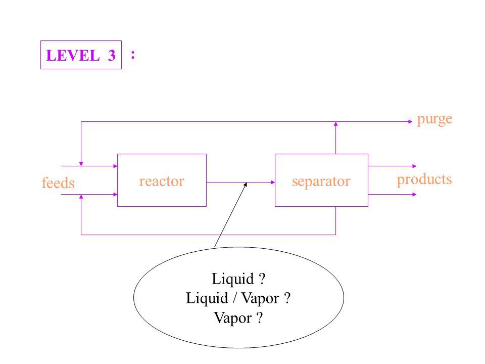 LEVEL 3 : reactorseparator products purge feeds Liquid ? Liquid / Vapor ? Vapor ?