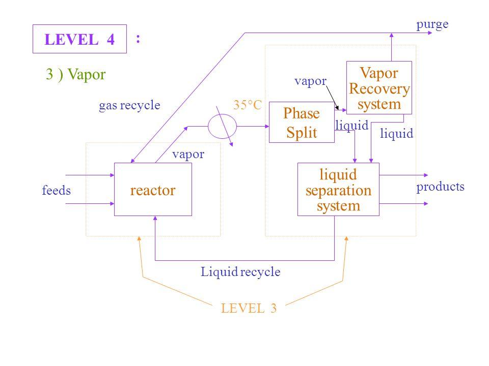 LEVEL 4 : 3 ) Vapor reactor liquid separation system Liquid recycle products feeds LEVEL 3 Phase Split Vapor Recovery system 35  C gas recycle liquid vapor purge vapor