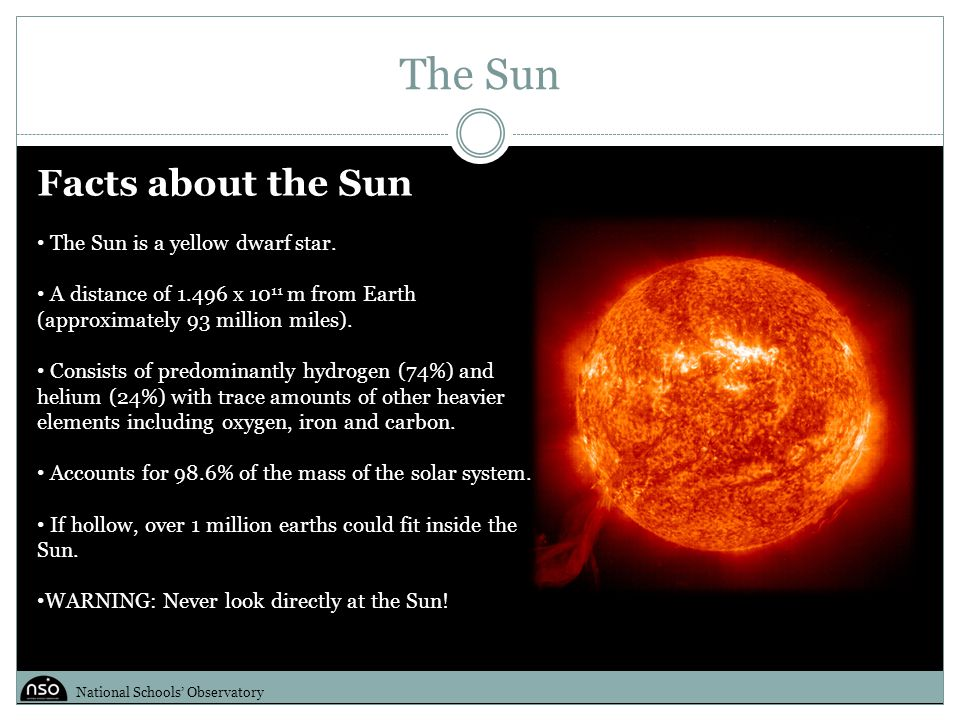 The Sun Facts about the Sun The Sun is a yellow dwarf star.