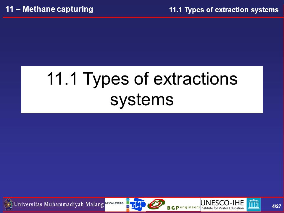 15/27 11 – Methane capturing Gas well connection RULE OF THUMB: 4 GAS WELLS PER HA 11.1 Types of extraction systems