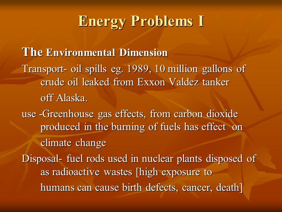 Energy Problems I The Environmental Dimension Transport- oil spills eg.