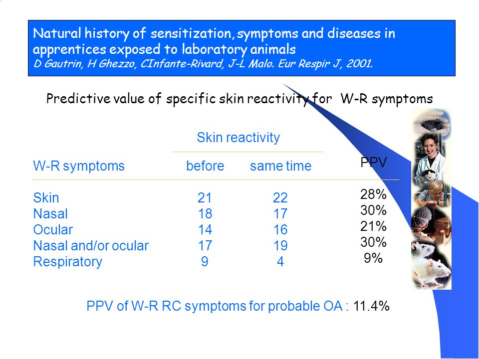 Predictive value of specific skin reactivity for W-R symptoms W-R symptoms Skin Nasal Ocular Nasal and/or ocular Respiratory before 21 18 14 17 9 same time 22 17 16 19 4 PPV 28% 30% 21% 30% 9% Skin reactivity PPV of W-R RC symptoms for probable OA : 11.4% Natural history of sensitization, symptoms and diseases in apprentices exposed to laboratory animals D Gautrin, H Ghezzo, CInfante-Rivard, J-L Malo.