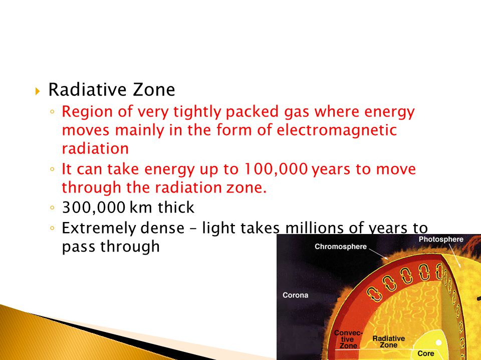  Radiative Zone ◦ Region of very tightly packed gas where energy moves mainly in the form of electromagnetic radiation ◦ It can take energy up to 100,000 years to move through the radiation zone.