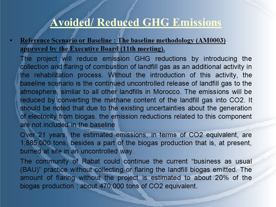 Avoided/ Reduced GHG Emissions Reference Scenario or Baseline : The baseline methodology (AM0003) approved by the Executive Board (11th meeting).
