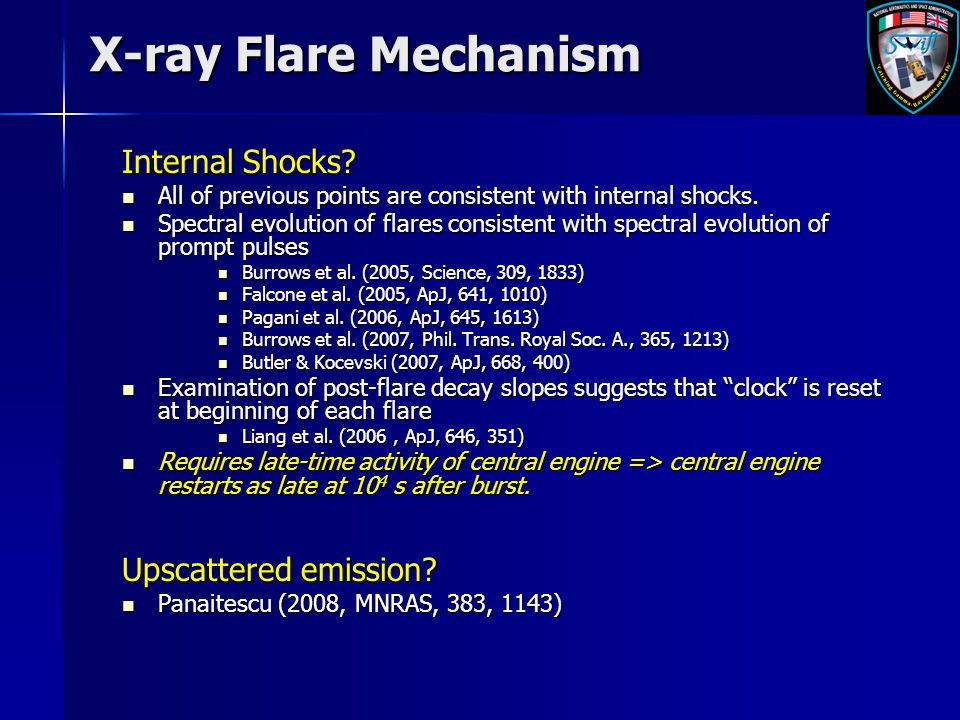 X-ray Flare Mechanism Internal Shocks? All of previous points are consistent with internal shocks. All of previous points are consistent with internal