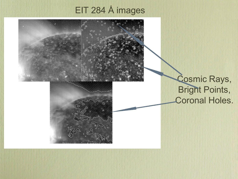 EIT 284 Å images Cosmic Rays, Bright Points, Coronal Holes.