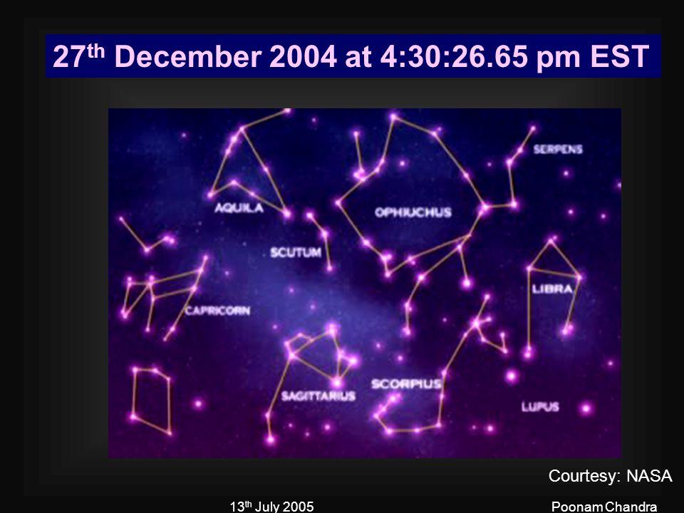 13 th July 2005Poonam Chandra 27 th December 2004 at 4:30:26.65 pm EST Courtesy: NASA
