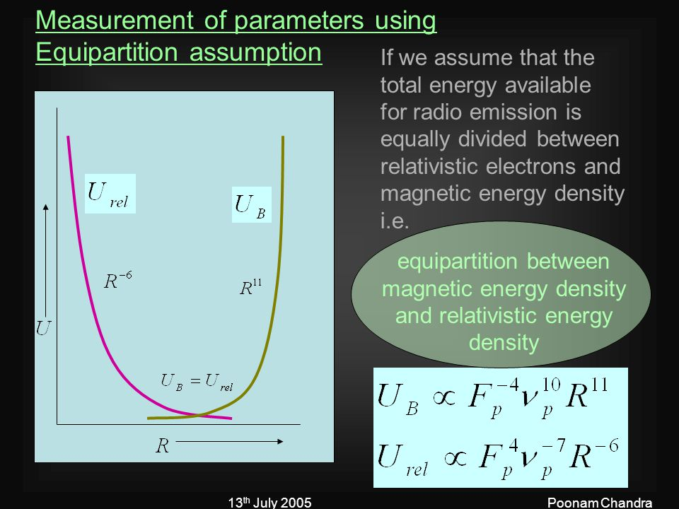 13 th July 2005Poonam Chandra Measurement of parameters using Equipartition assumption If we assume that the total energy available for radio emission is equally divided between relativistic electrons and magnetic energy density i.e.