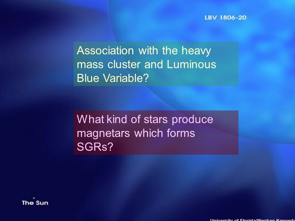 13 th July 2005Poonam Chandra Association with the heavy mass cluster and Luminous Blue Variable? What kind of stars produce magnetars which forms SGR
