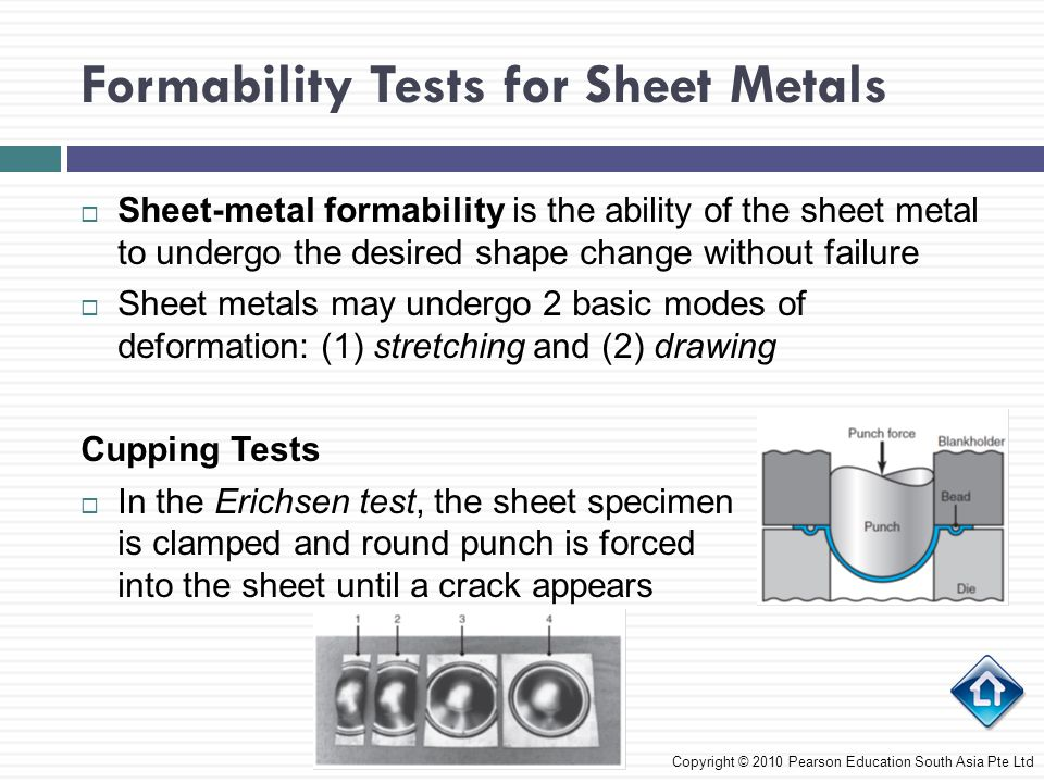 Formability Tests for Sheet Metals Copyright © 2010 Pearson Education South Asia Pte Ltd  Sheet-metal formability is the ability of the sheet metal t