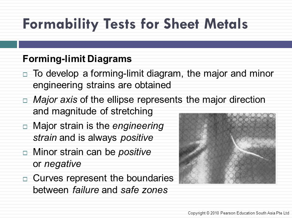 Formability Tests for Sheet Metals Copyright © 2010 Pearson Education South Asia Pte Ltd Forming-limit Diagrams  To develop a forming-limit diagram,