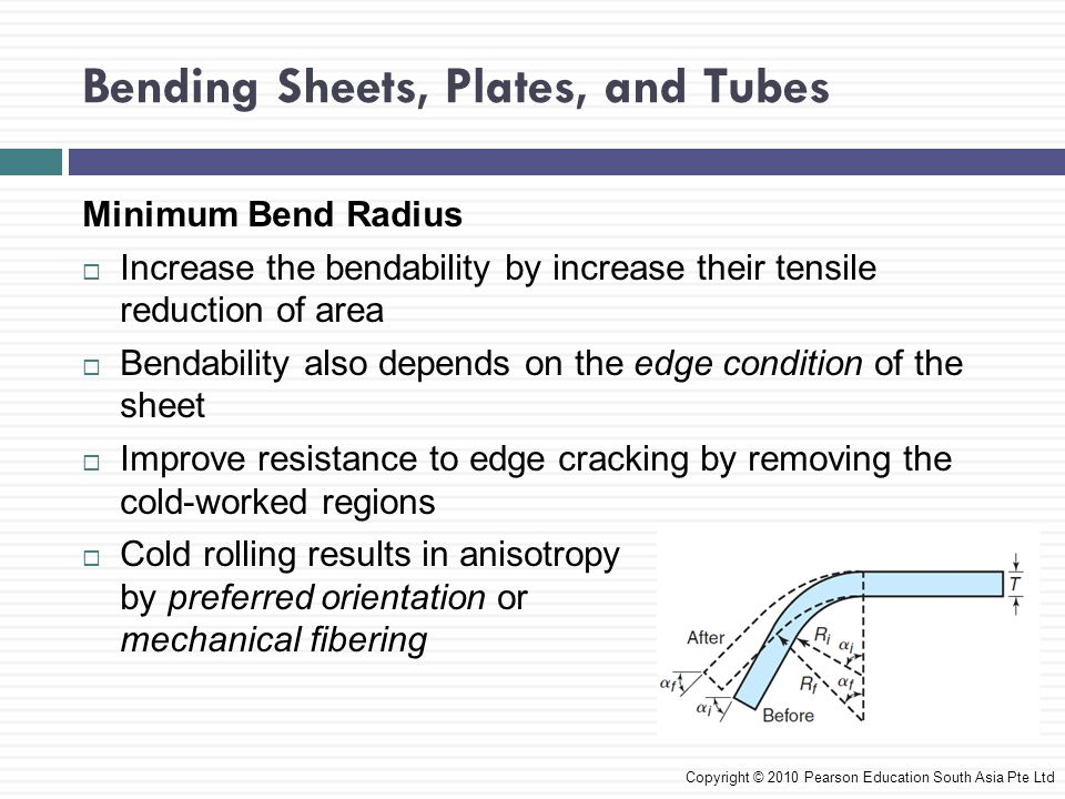 Bending Sheets, Plates, and Tubes Copyright © 2010 Pearson Education South Asia Pte Ltd Minimum Bend Radius  Increase the bendability by increase their tensile reduction of area  Bendability also depends on the edge condition of the sheet  Improve resistance to edge cracking by removing the cold-worked regions  Cold rolling results in anisotropy by preferred orientation or mechanical fibering