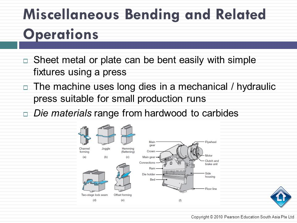 Miscellaneous Bending and Related Operations Copyright © 2010 Pearson Education South Asia Pte Ltd  Sheet metal or plate can be bent easily with simple fixtures using a press  The machine uses long dies in a mechanical / hydraulic press suitable for small production runs  Die materials range from hardwood to carbides