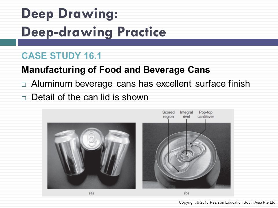 Deep Drawing: Deep-drawing Practice Copyright © 2010 Pearson Education South Asia Pte Ltd CASE STUDY 16.1 Manufacturing of Food and Beverage Cans  Aluminum beverage cans has excellent surface finish  Detail of the can lid is shown