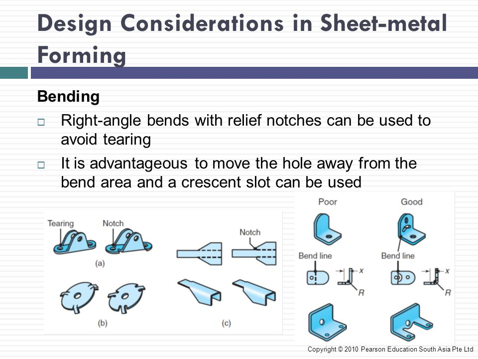 Design Considerations in Sheet-metal Forming Copyright © 2010 Pearson Education South Asia Pte Ltd Bending  Right-angle bends with relief notches can