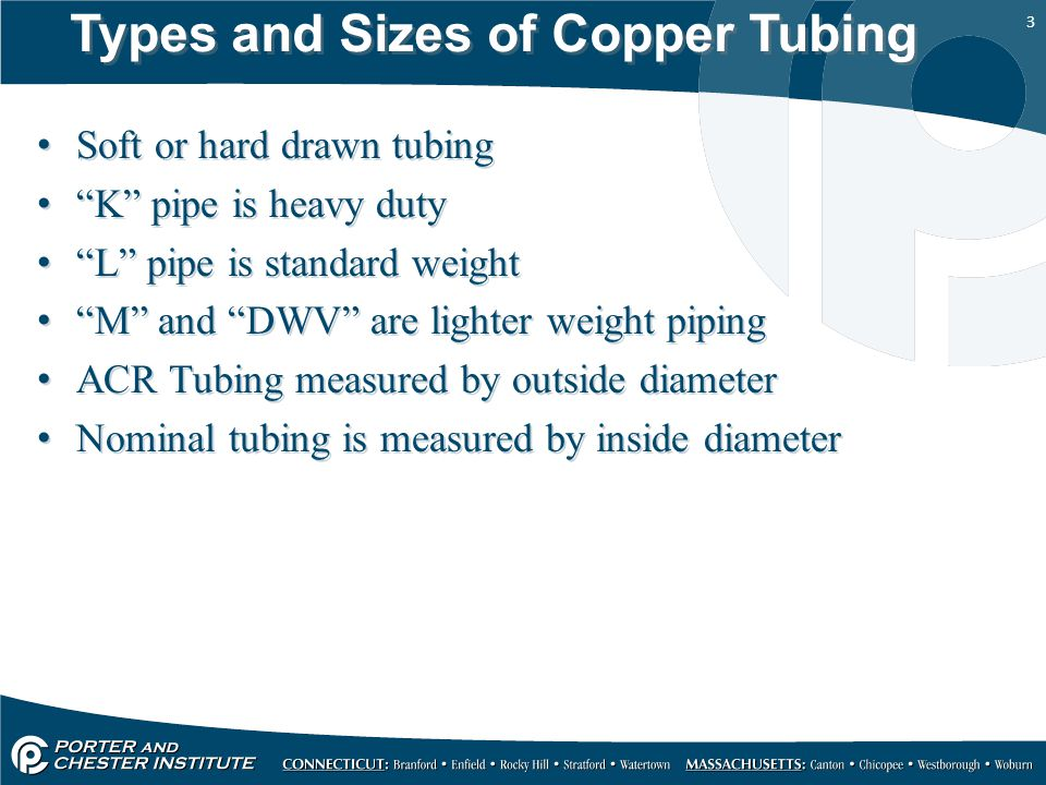 3 Types and Sizes of Copper Tubing Soft or hard drawn tubing K pipe is heavy duty L pipe is standard weight M and DWV are lighter weight piping ACR Tubing measured by outside diameter Nominal tubing is measured by inside diameter Soft or hard drawn tubing K pipe is heavy duty L pipe is standard weight M and DWV are lighter weight piping ACR Tubing measured by outside diameter Nominal tubing is measured by inside diameter