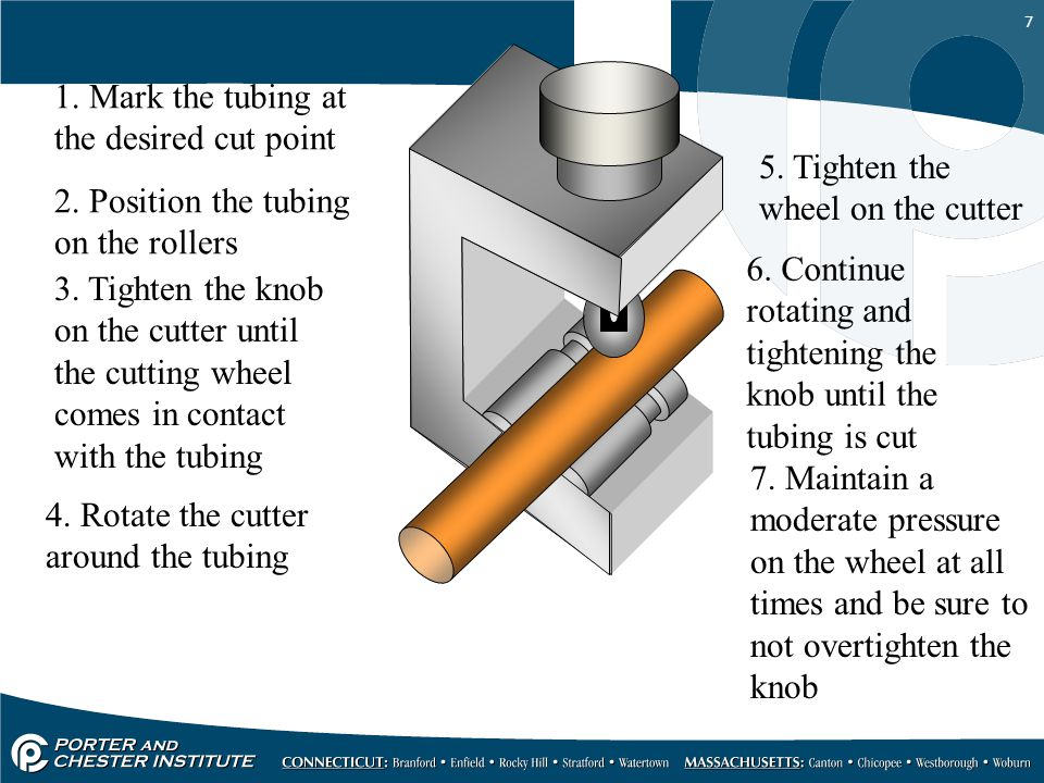 7 1.Mark the tubing at the desired cut point 2. Position the tubing on the rollers 3.