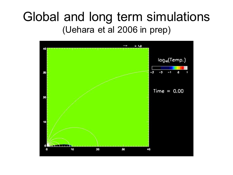 Global and long term simulations (Uehara et al 2006 in prep)