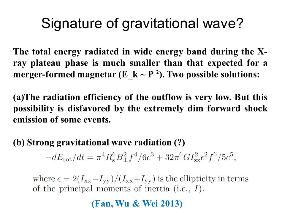 (Fan, Wu & Wei 2013) Signature of gravitational wave.