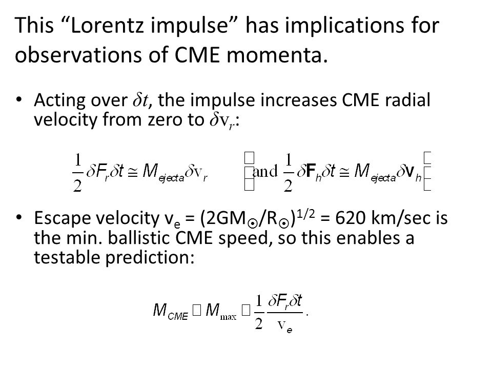 This Lorentz impulse has implications for observations of CME momenta.
