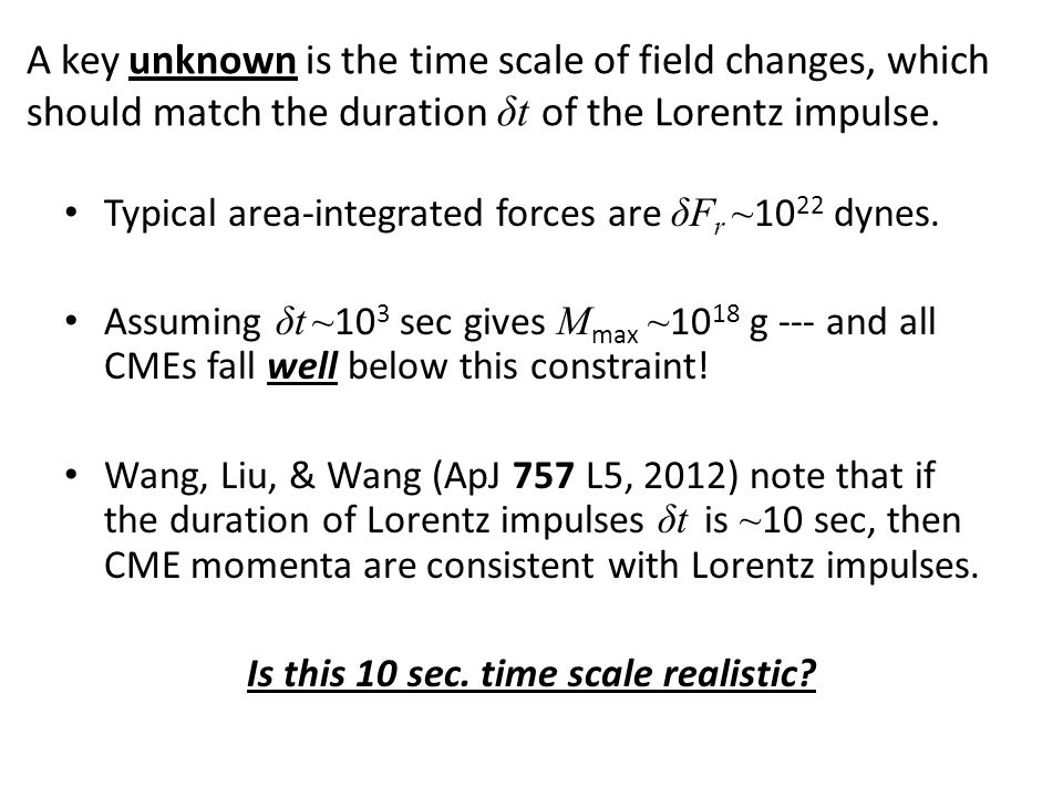 A key unknown is the time scale of field changes, which should match the duration δt of the Lorentz impulse.