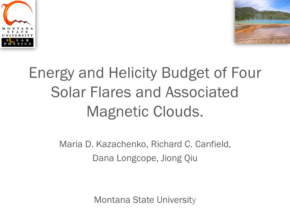 Energy and Helicity Budget of Four Solar Flares and Associated Magnetic Clouds.