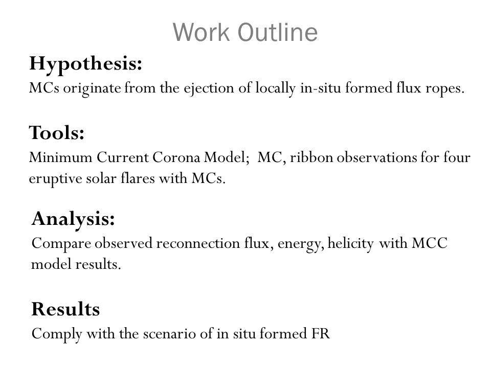 Hypothesis: MCs originate from the ejection of locally in-situ formed flux ropes. Tools: Minimum Current Corona Model; MC, ribbon observations for fou