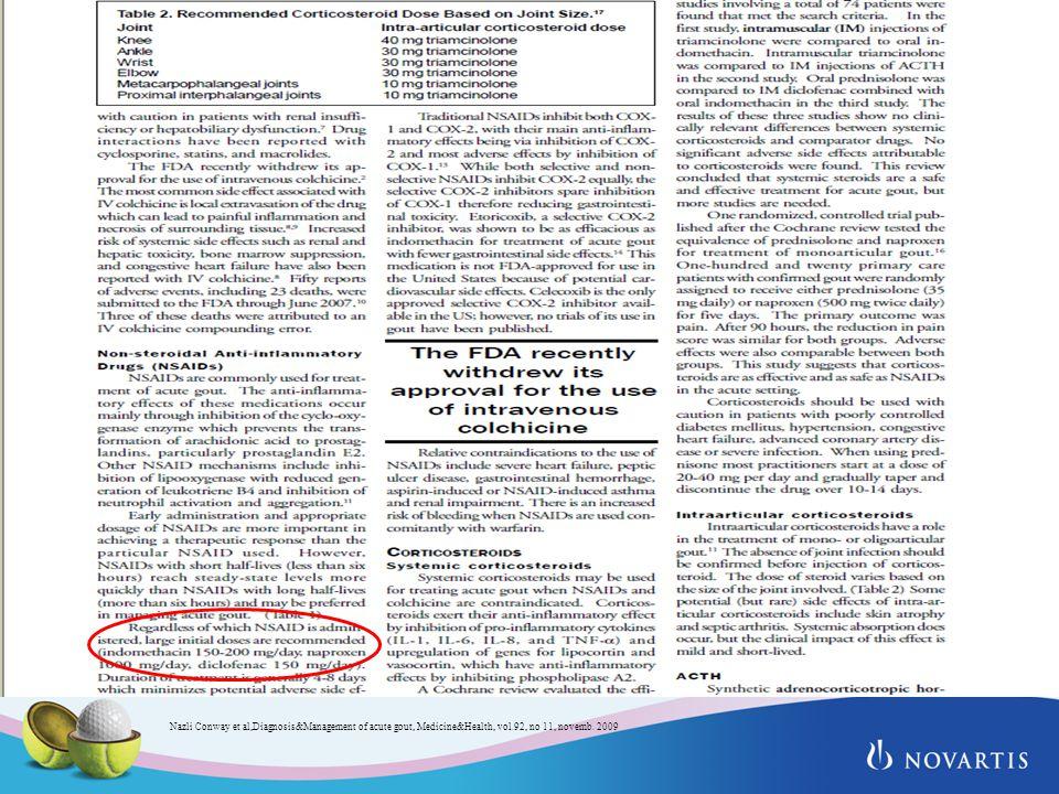 Nazli Conway et al,Diagnosis&Management of acute gout, Medicine&Health, vol.92, no 11, novemb. 2009