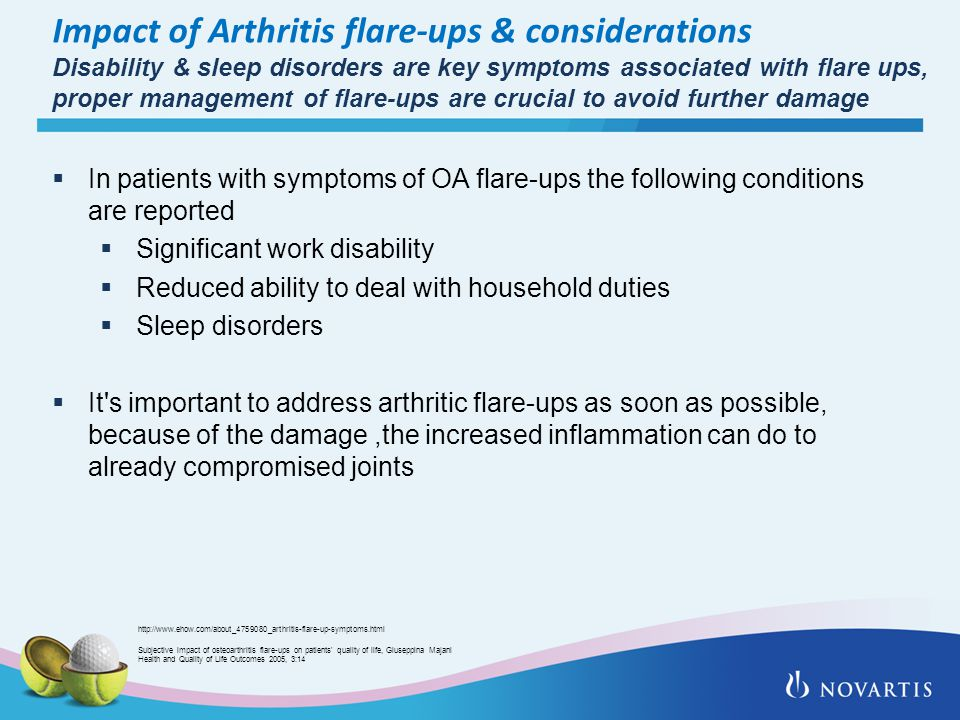 Impact of Arthritis flare-ups & considerations Disability & sleep disorders are key symptoms associated with flare ups, proper management of flare-ups are crucial to avoid further damage  In patients with symptoms of OA flare-ups the following conditions are reported  Significant work disability  Reduced ability to deal with household duties  Sleep disorders  It s important to address arthritic flare-ups as soon as possible, because of the damage,the increased inflammation can do to already compromised joints Subjective impact of osteoarthritis flare-ups on patients quality of life, Giuseppina Majani Health and Quality of Life Outcomes 2005, 3:14 http://www.ehow.com/about_4759080_arthritis-flare-up-symptoms.html