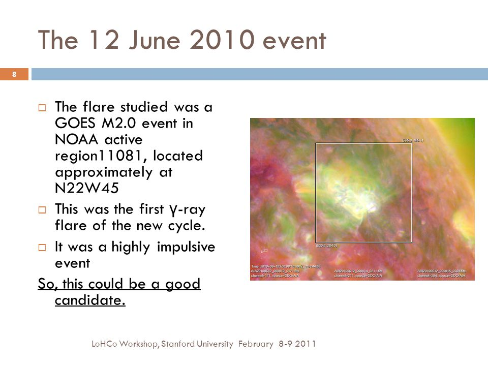 The 12 June 2010 event  The flare studied was a GOES M2.0 event in NOAA active region11081, located approximately at N22W45  This was the first γ -ray flare of the new cycle.