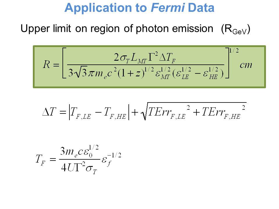 Application to Fermi Data Upper limit on region of photon emission (R GeV )