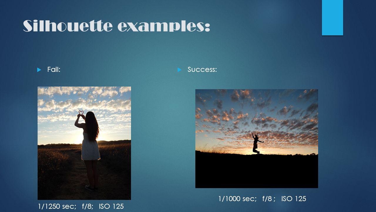 Silhouette examples:  Fail:  Success: 1/1000 sec; f/8 ; ISO 125 1/1250 sec; f/8; ISO 125