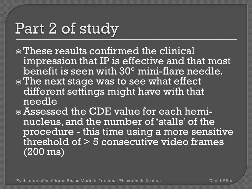  These results confirmed the clinical impression that IP is effective and that most benefit is seen with 30° mini-flare needle.