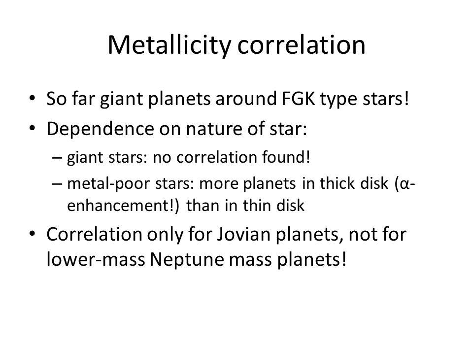 Metallicity correlation So far giant planets around FGK type stars! Dependence on nature of star: – giant stars: no correlation found! – metal-poor st