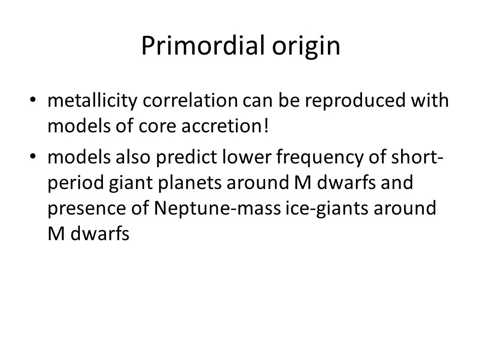 Primordial origin metallicity correlation can be reproduced with models of core accretion.