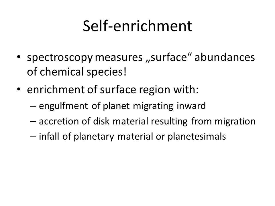 """Self-enrichment spectroscopy measures """"surface abundances of chemical species."""