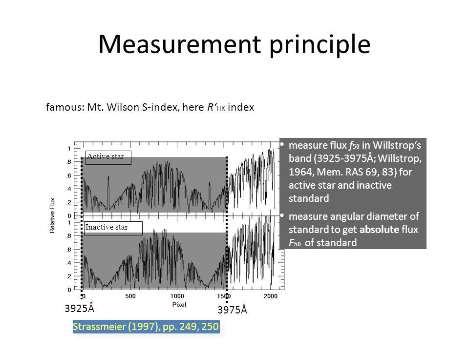 Measurement principle Active star Inactive star measure flux f 50 in Willstrop's band (3925-3975Å; Willstrop, 1964, Mem. RAS 69, 83) for active star a