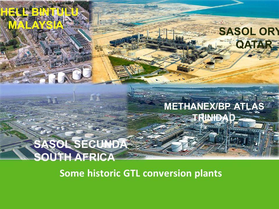 Some historic GTL conversion plants SASOL SECUNDA SOUTH AFRICA METHANEX/BP ATLAS TRINIDAD SHELL BINTULU MALAYSIA SASOL ORYX QATAR