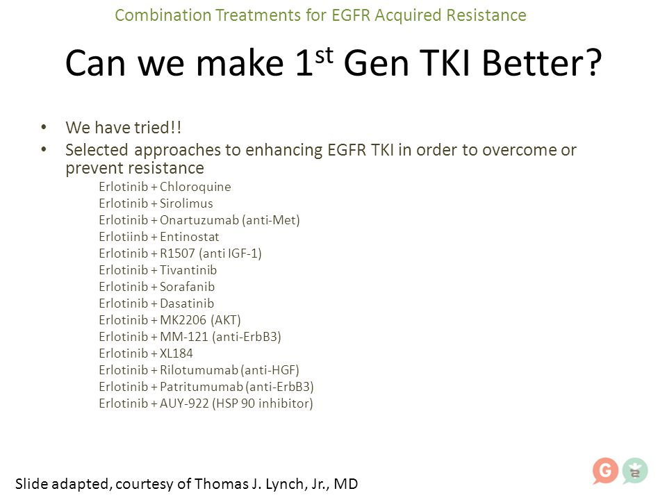 Can we make 1 st Gen TKI Better? We have tried!! Selected approaches to enhancing EGFR TKI in order to overcome or prevent resistance Erlotinib + Chlo