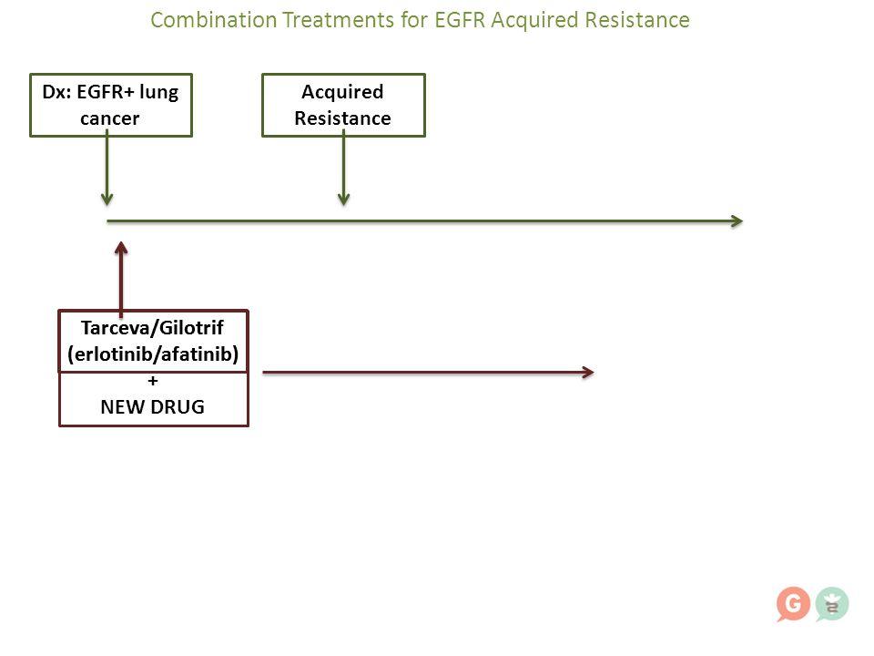 Dx: EGFR+ lung cancer Acquired Resistance Tarceva/Gilotrif (erlotinib/afatinib) Combination Treatments for EGFR Acquired Resistance Tarceva/Gilotrif (